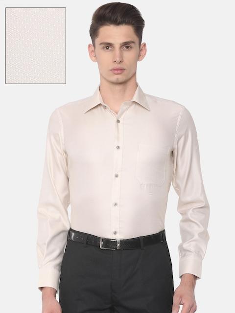 Raymond Men Beige Contemporary Regular Fit Self Design Formal Shirt