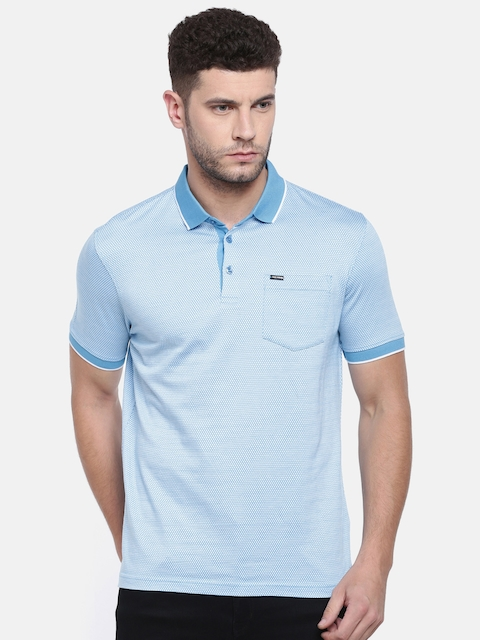 Park Avenue Men Blue Self Design Polo Collar Slim Fit T-shirt