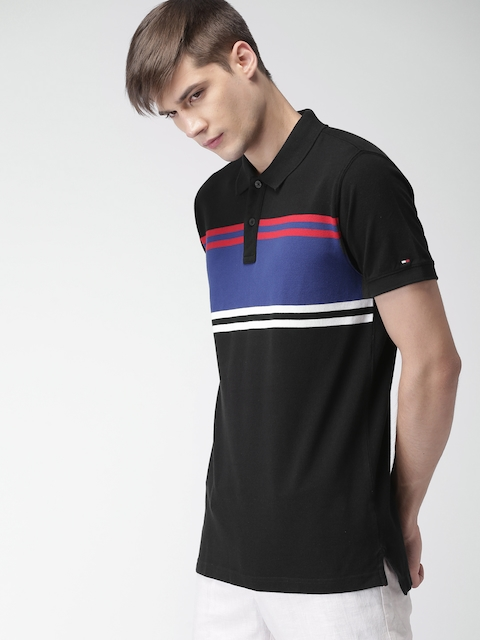 Tommy Hilfiger Men Black & Blue Colourblocked Polo Collar T-shirt