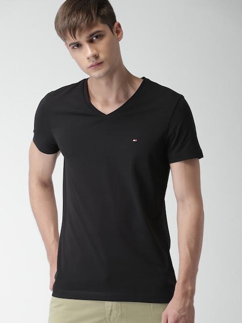 Tommy Hilfiger Men Black Solid V-Neck T-shirt