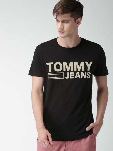 Tommy Hilfiger Men Black Printed Regular Fit Round Neck T-shirt