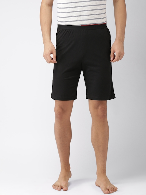Tommy Hilfiger Men Black Solid Lounge Shorts P8ABN105