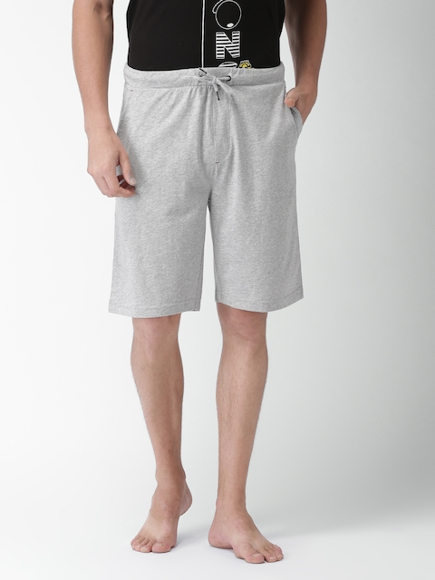 Tommy Hilfiger Men Grey Melange Solid Lounge Shorts
