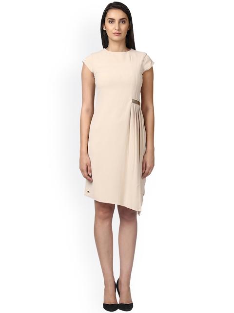 Park Avenue Women Beige Solid Sheath Dress