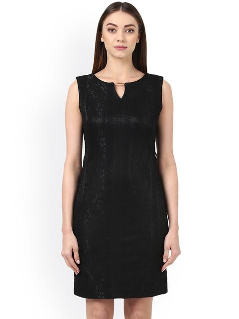Park Avenue Women Black Solid Sheath Dress