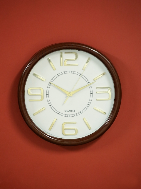 HOME DECOR INDIA White Round Solid Analogue Wall Clock