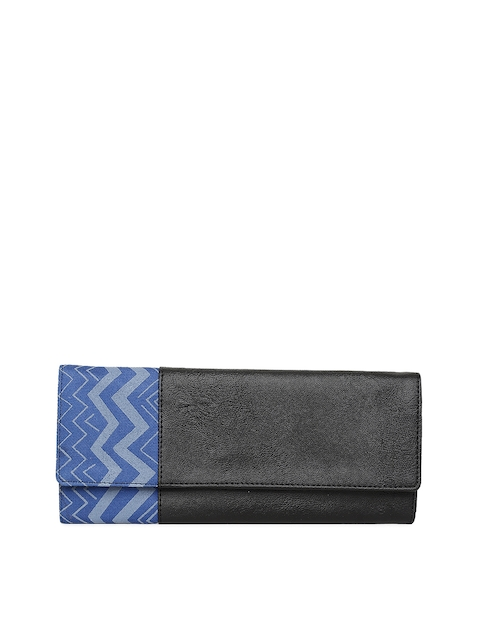 Baggit Women Black & Blue Printed Two Fold Wallet