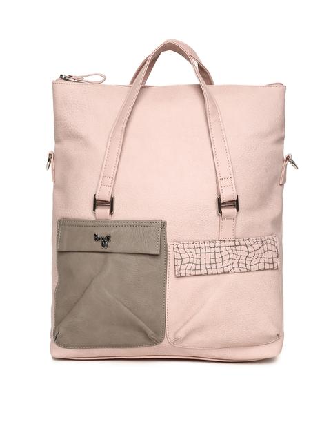 Baggit Pink & Grey Colourblocked Handheld Bag