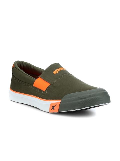 Sparx Men Olive Green Slip-On Sneakers
