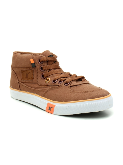 Sparx Men Tan Solid Canvas Mid-Top Flatforms