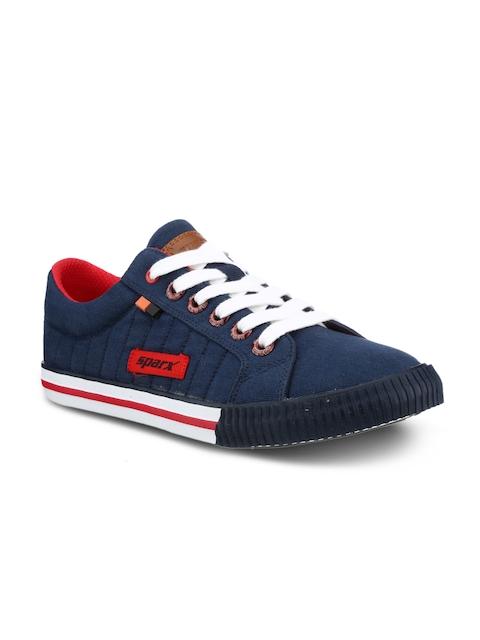 Sparx Men Navy Blue & White Sneakers