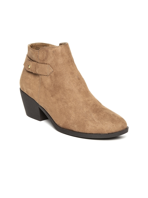 FOREVER 21 Women Brown Solid Heeled Boots