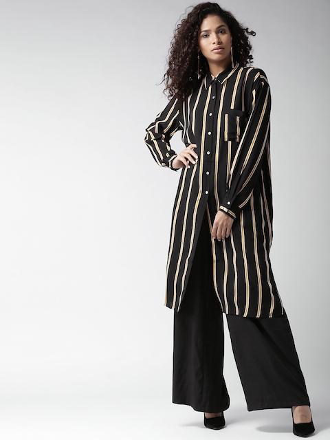 FOREVER 21 Women Black & Yellow Regular Fit Striped Longline Casual Shirt