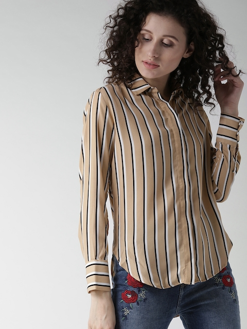 FOREVER 21 Women Beige & Black Striped Casual Shirt