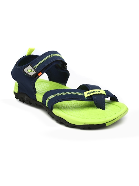 Sparx Men Navy Blue & Fluorescent Green Comfort Sandals