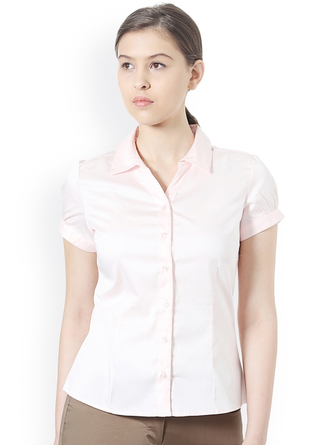 Allen Solly Woman Women Pink Regular Fit Solid Formal Shirt