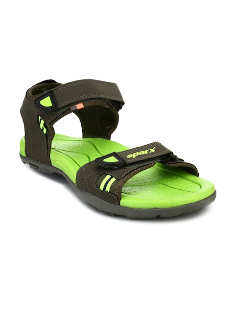 Sparx Men Olive Green & Fluorescent Green Comfort Sandals
