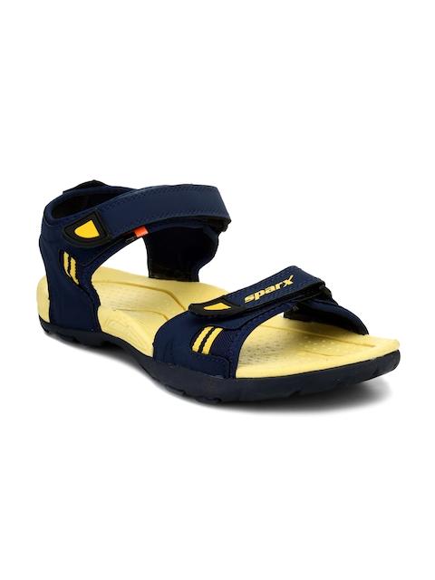 Sparx Men Navy Blue & Yellow Comfort Sandals