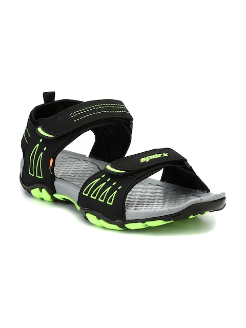 Sparx Men Black & Green Comfort Sandals