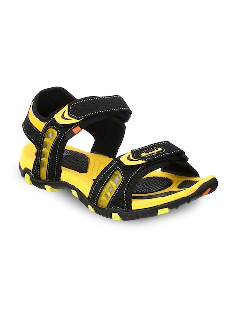 Sparx Men Black & Yellow Comfort Sandals