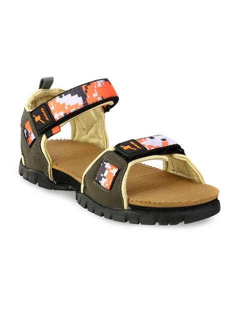 Sparx Men Olive Green & Brown Comfort Sandals