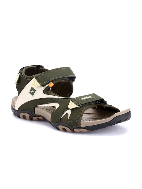 Sparx Men Olive Green & Brown Comfort Sandals