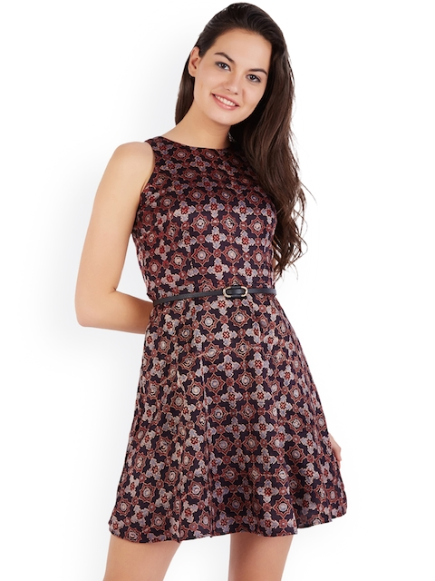 Allen Solly Woman Women Purple Printed Fit and Flare Dress