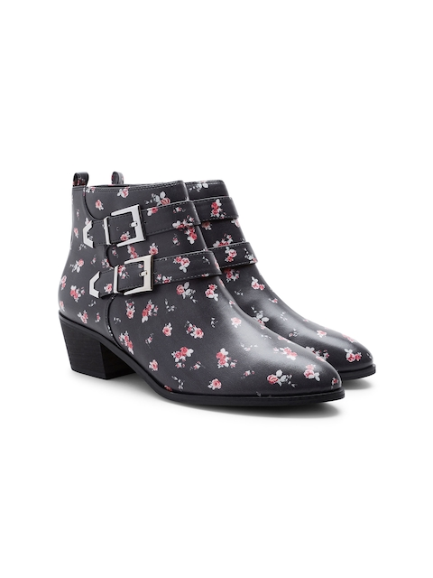 next Women Black Printed Heeled Boots