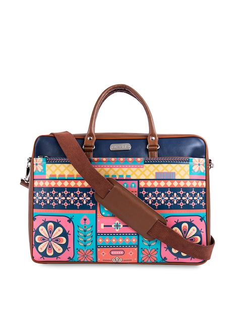 Chumbak Unisex Brown & Blue Printed Laptop Bag