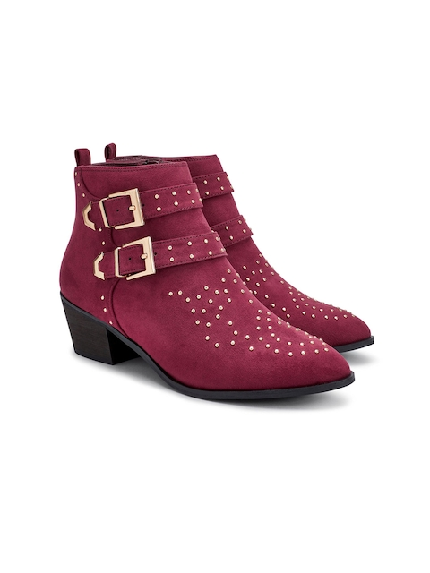 next Women Purple Solid Heeled Boots