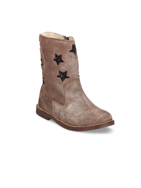 Beanz Boys Brown Solid Leather Mid-Top Flat Boots