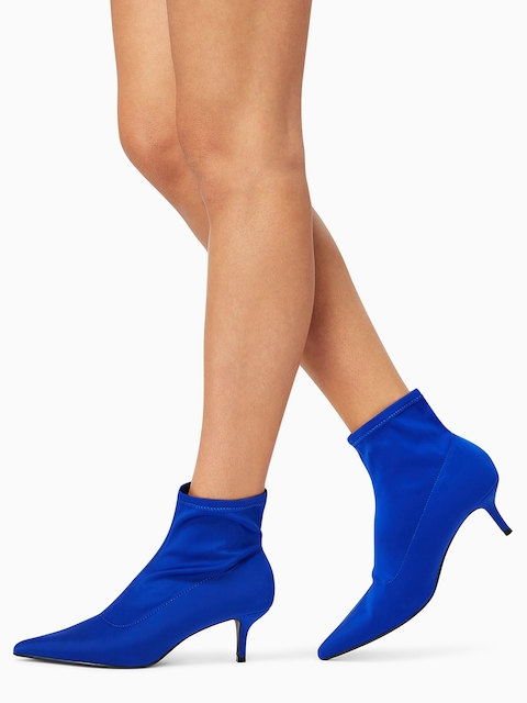 next Women Blue Solid Heeled Boots