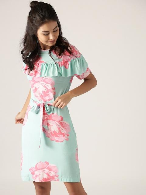 United Colors of Benetton Women Blue & Pink Printed Sheath Dress