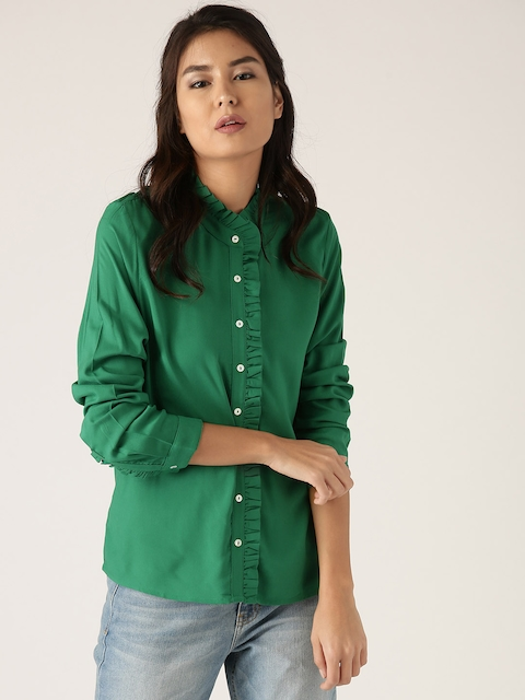United Colors of Benetton Women Green Ruffled Solid Casual Shirt