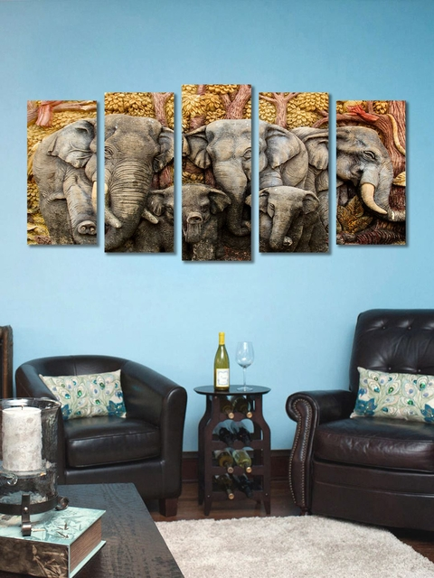 999store Set Of 5 Brown Gold And Grey Abstract Elephant Wall