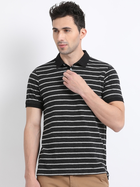 Indian Terrain Men Black & Grey Striped Polo Collar T-shirt