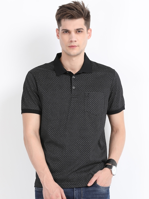 Indian Terrain Men Black Printed Polo Collar T-shirt