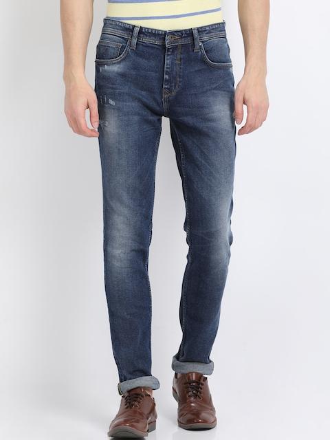 Indian Terrain Men Blue Slim Fit Mid-Rise Low Distress Jeans