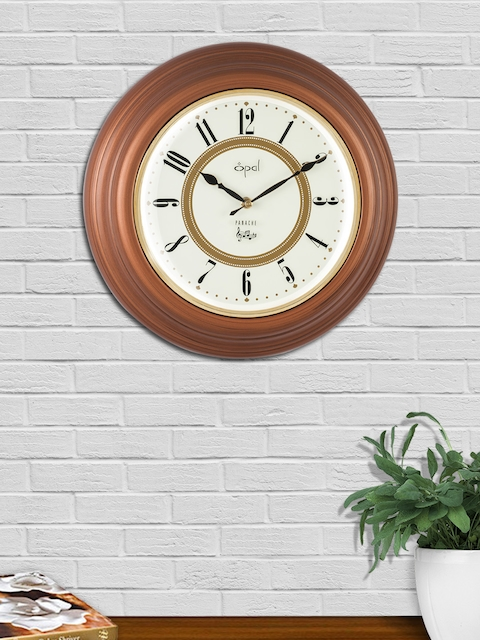 Opal Brown Round Solid Analogue Wall Clock