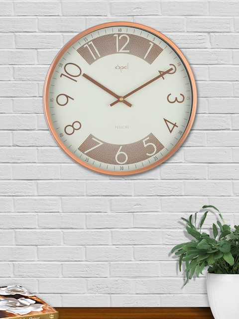 Opal White & Copper-Toned Round Solid Analogue 30 cm Wall Clock