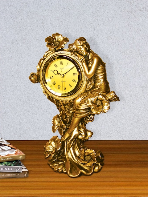 Opal Yellow Round Solid 41 cm x 30 cm Analogue Table Clock
