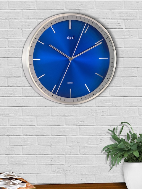 Opal Blue Round Solid Analogue Wall Clock