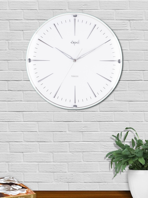 Opal White Round Solid Analogue Wall Clock