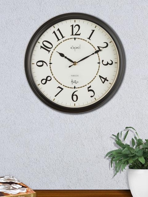 Opal White & Black Round Solid Analogue 29 cm Wall Clock