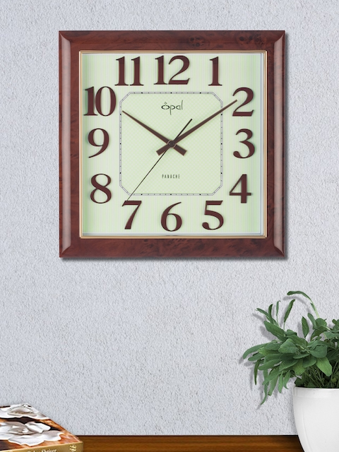 Opal Cream-Coloured Square Solid Analogue Wall Clock