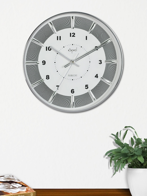 Opal White & Silver Round Solid Analogue 30 cm Wall Clock