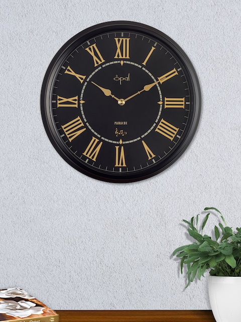 Opal Black & Gold Round Solid Analogue 29 cm Wall Clock