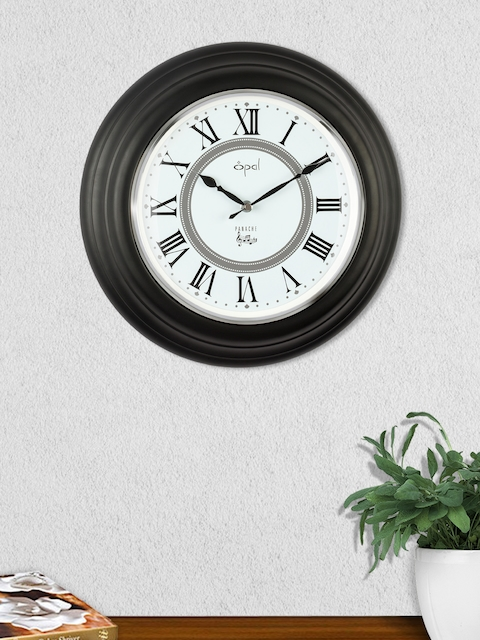 Opal White & Black Round Solid Analogue 33 cm Wall Clock