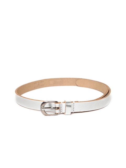 United Colors of Benetton Women Silver-Toned Leather Solid Belt
