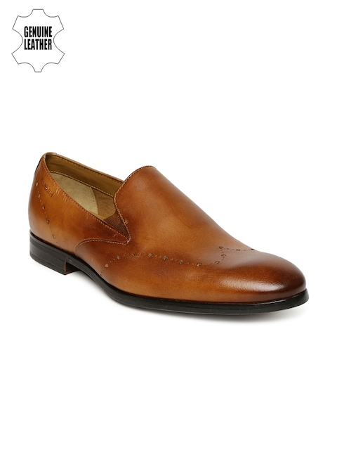 Ruosh Men Tan Brown Mexico Genuine Leather Formal Slip-On Shoes
